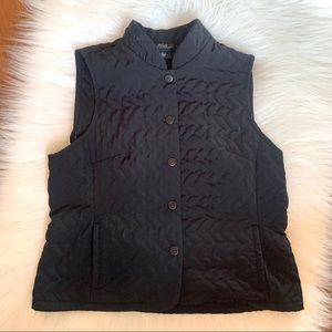 AGB Black Quilted Button Closure Vest XL